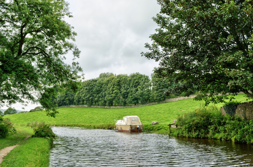 Boat moored on the Lancaster Canal, England