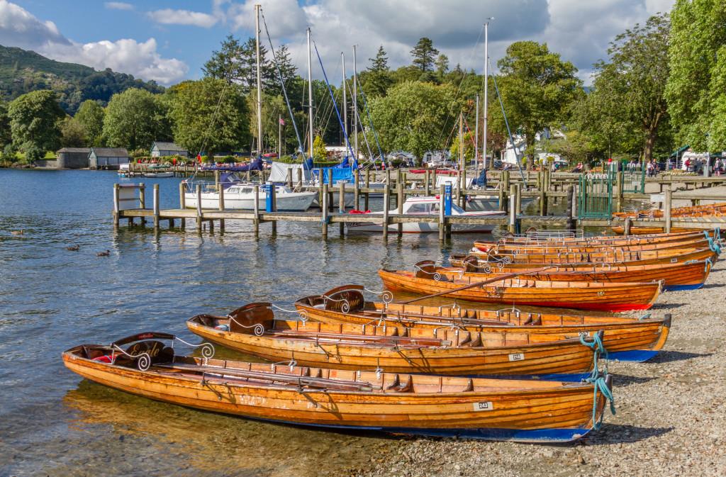Rowing boats in Ambleside on Lake Windermere