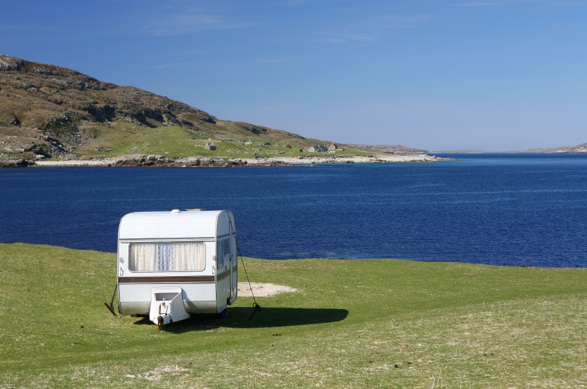 Lonely caravan over looking sea loch, Isle of Harris, Outer Hebrides