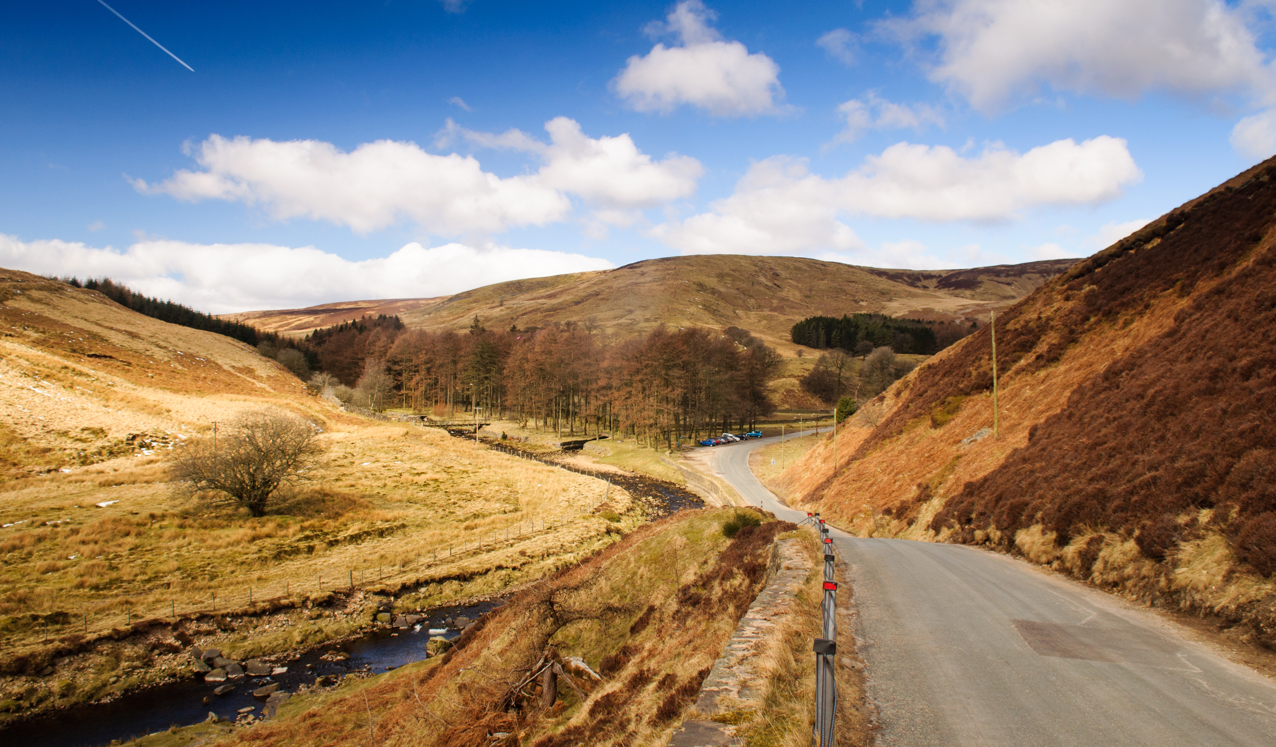 A single track country lane runs through the valley of the Trough of Bowland in the remote Forest of Bowland area of Lancashire, England.