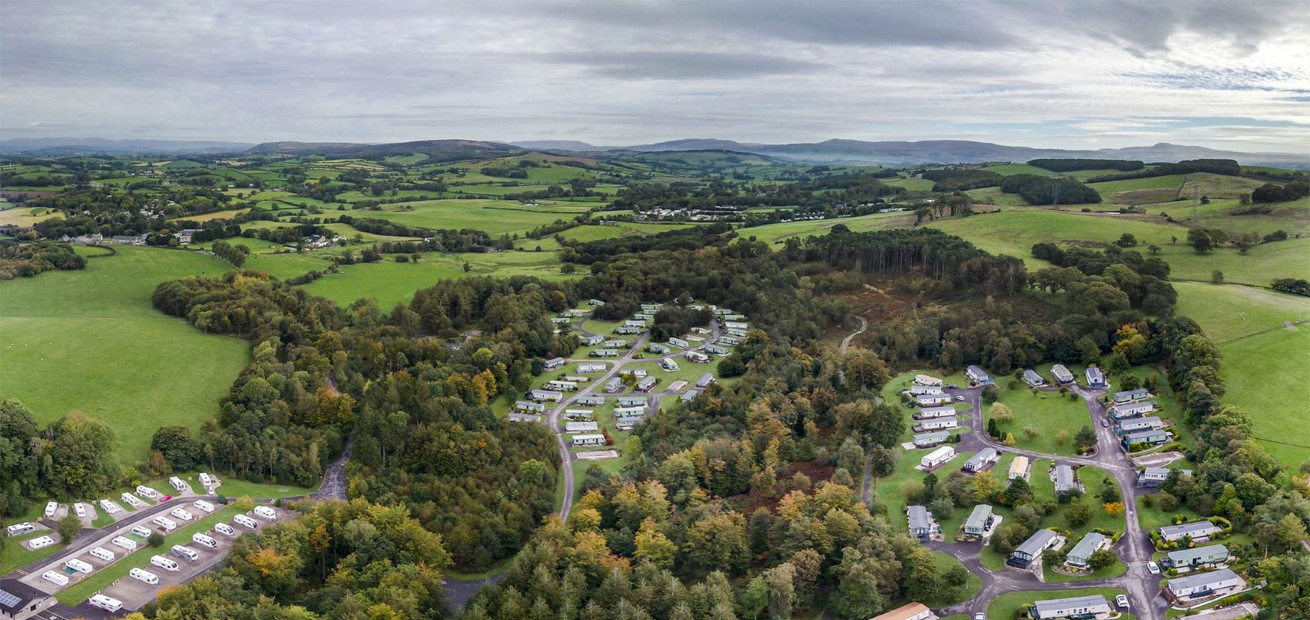 aerial view of old hall caravan park on an overcast autumnal day