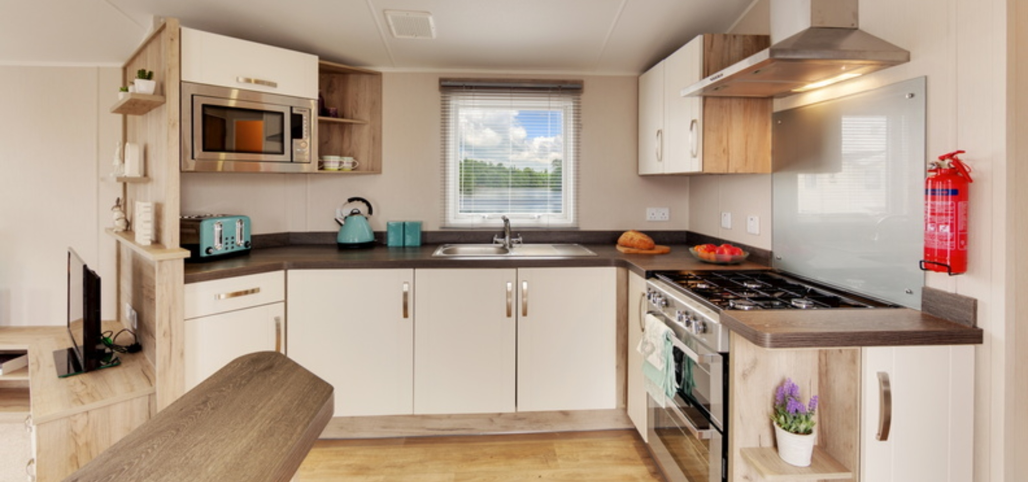 holiday home kitchen in an open plan setting with the living room