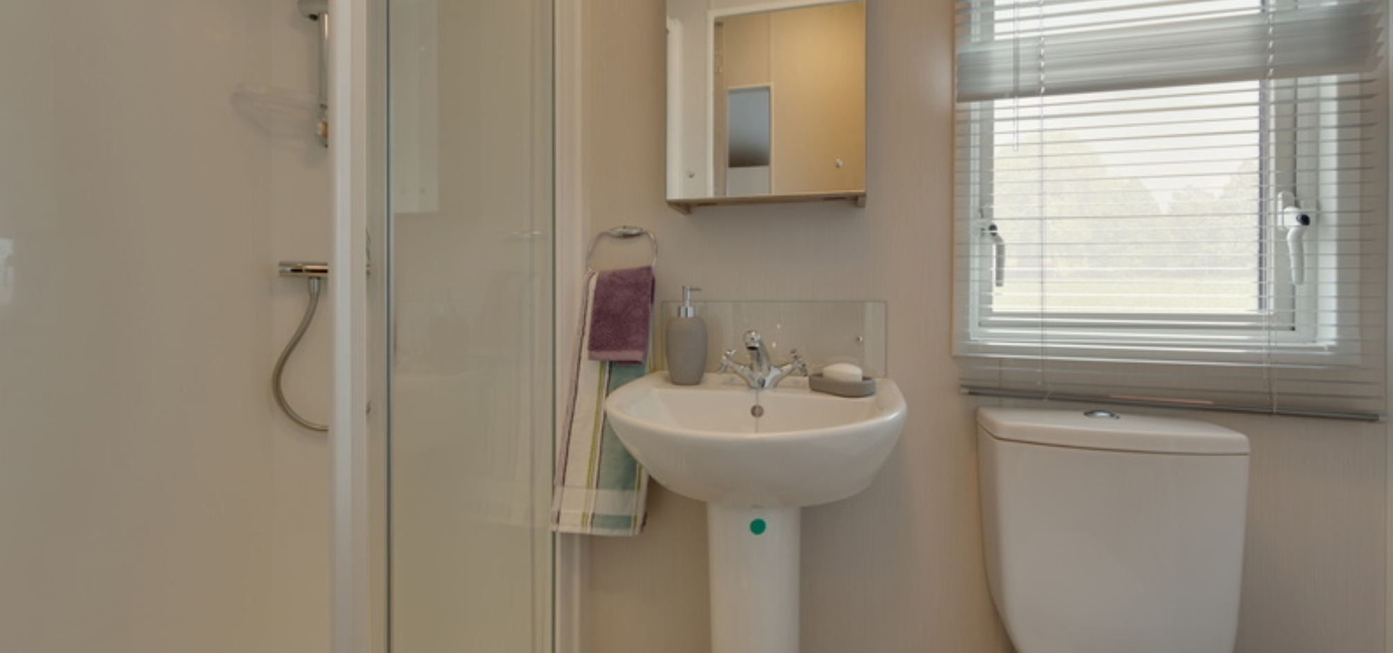 bathroom sink and toliet with a shower on the left