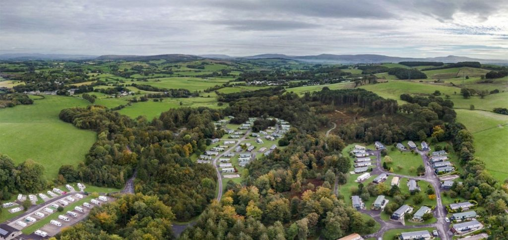 aerial view of old hall caravan park in Lancashire